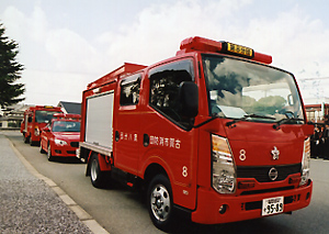配備された消防車