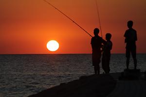 古賀海岸の夕日