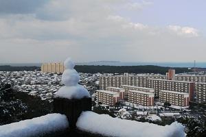 雪化粧をした古賀市