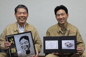 代表取締役の植木次義さん(左)と専務取締役の植木剛彦さん(右)