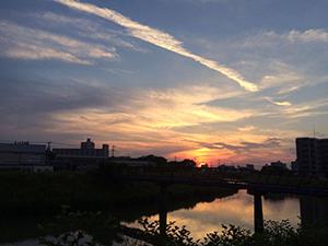 大根川からみた夕焼け1