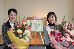 看護大の松尾教授と予防健診課吉田さん