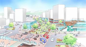 古賀駅東口周辺整備のイメージ図