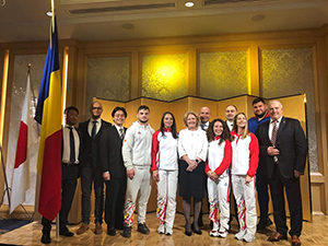 在日本ルーマニア大使館で同国柔道協会のコズミン・グシャ会長やフロリン・ベルチェアン副会長、大石公平監督や選手の皆さんと
