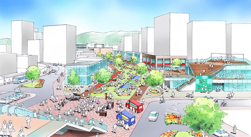未来の古賀駅東口のイメージ図